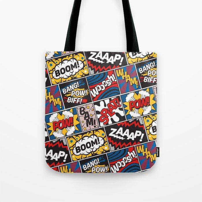 Modern Comic Book Superhero Pattern Color Colour Cartoon Lichtenstein Pop  Art Tote Bag By Seasonofvictory Society6