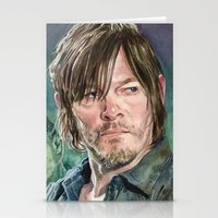 daryl dixon Stationery Cards featuring Daryl Dixon by Mark Satchwill Art