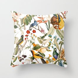 Floral and Birds XXXII Throw Pillow