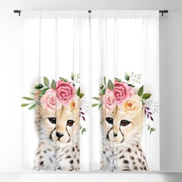 Baby Cheetah with Flower Crown Blackout Curtain