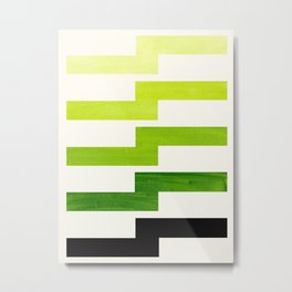 Minimalist Mid Century Modern Sap Green Watercolor Painting Lightning Bolt Zig Zag Pattern With Blac Metal Print
