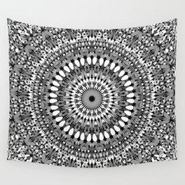 Grey Ornate Gravel Mandala Wall Tapestry