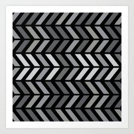 Chevron Black Gray Art Print