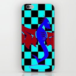 Untamed Dragon on Red Checkers iPhone Skin