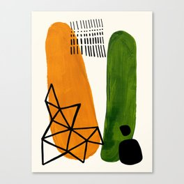 Mid Century Modern Abstract Minimalist Retro Vintage Style Yellow Ochre Olive Green Shapes Ornament Canvas Print