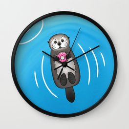 Sea Otter with Donut - Cute Otter Holding Doughnut Wall Clock