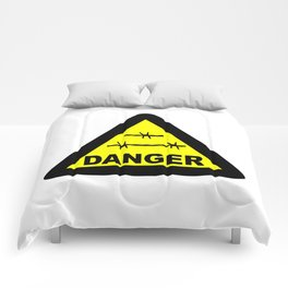 Triangle Barbed Wire Warning Sign Comforters