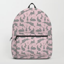 Rabbit Pattern | Rabbit Silhouettes | Bunny Rabbits | Bunnies | Hares | Pink and Grey | Backpack