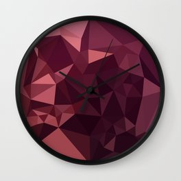Dark Raspberry Red Abstract Low Polygon Background Wall Clock