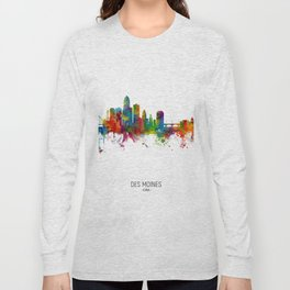 Des Moines Iowa Skyline Long Sleeve T-shirt