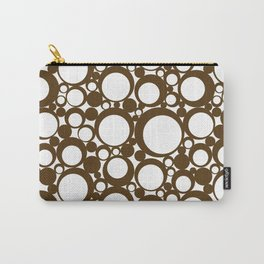 Brown Geometric Abstract Modern Circle Art Carry-All Pouch
