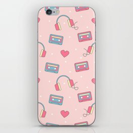 cute colorful pattern with headphones, hearts, dots and cassette tapes iPhone Skin