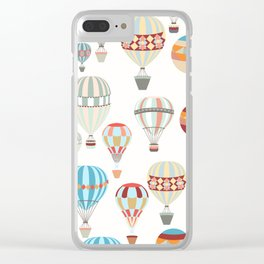 Adventure illustration pattern with air balloons in vintage hipster style Clear iPhone Case