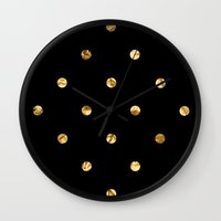 black and gold Wall Clocks featuring Black & Gold by The Wellington Boot
