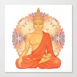 Sitting Buddha over ornate mandala round pattern Canvas Print