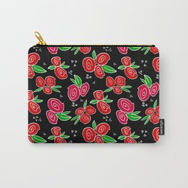 Floral Scatter in Black Carry-All Pouch