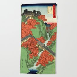Hiroshige Temple & Mountains Beach Towel