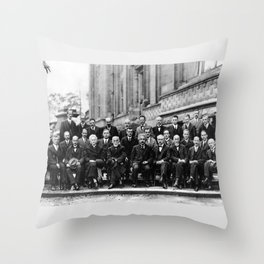 World-Renowned Physicists of 1927 at Solvay Conference Throw Pillow
