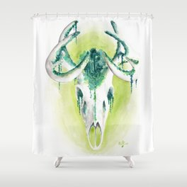 Deer skull forest - watercolor painting Shower Curtain