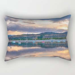 Calm Waters // Lake and Boats at Sunset Beautiful Landscape Photograph Scenic Mountain View Rectangular Pillow