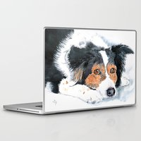 border collie Laptop & iPad Skins featuring Border Collie Mattie by Yvonne Carter