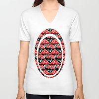 maori V-neck T-shirts featuring Kowhaiwhai Traditional Maori Koru Pattern by mailboxdisco