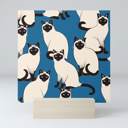 Siamese Cats on dark blue Mini Art Print