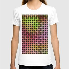 Pink and Green Wooden Weave Pattern T-shirt