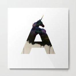 Unicorn Alphabet A  Metal Print