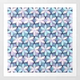 Daisies Aqua White Art Print