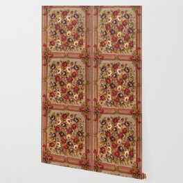 Antique Russian Bessarabian Floral Rug Print Wallpaper