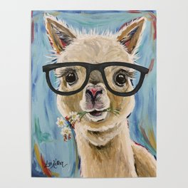Cute Alpaca With Glasses Poster