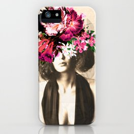 Floral Woman Vintage White Rose Gold iPhone Case