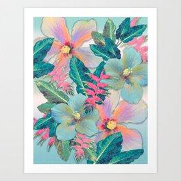 Aqua Ginger Alohas Art Print