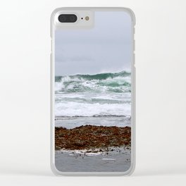 Green Waves Crashing into White Foam Clear iPhone Case