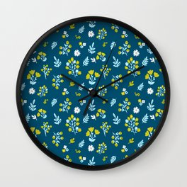 Flowers in dark blue and yellow color combination Wall Clock