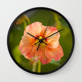 Orange Nasturtium Photography Print Wall Clock