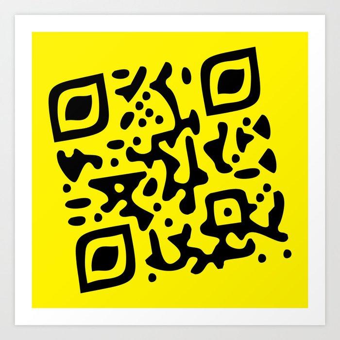 QR Clothes Yellow Art Print