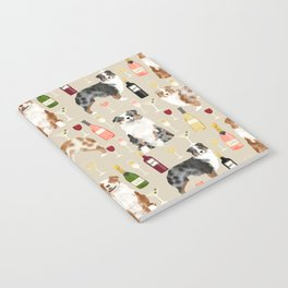 Australian Shepherd blue and red merle wine cocktails yappy hour pattern dog breed Notebook