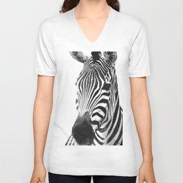 Black and white zebra illustration Unisex V-Neck