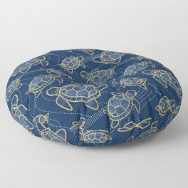 Japanese Pond Turtle / Dark Blue Floor Pillow