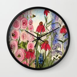 Cottage Garden Flower Whimsical Acrylic Painting Wall Clock