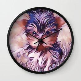 A Cute Teacup Yorkie Wall Clock