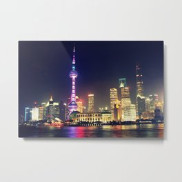 Shanghai Cityscape At Night Metal Print