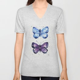 Butterflies Watercolor Blue and Purple Butterfly Unisex V-Neck