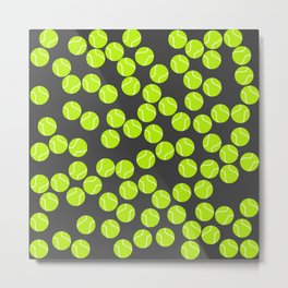 Cute Tennis Balls Pattern Metal Print