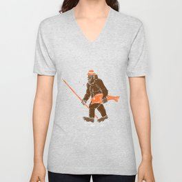 Fishing & Yeti Design: Bigfoot Carrying Fish Unisex V-Neck