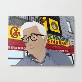 Woody Allen Cartoon Metal Print