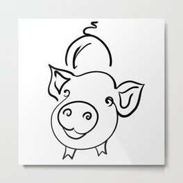 pig smile for you Metal Print