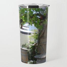 Old Wooden Barrels in a Flower Garden Solvang CA Travel Mug